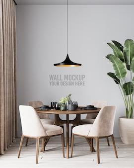Maquete de parede de sala de jantar moderna com cadeiras e plantas marrons