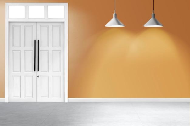 Maquete de parede de sala retrô psd com luz de teto