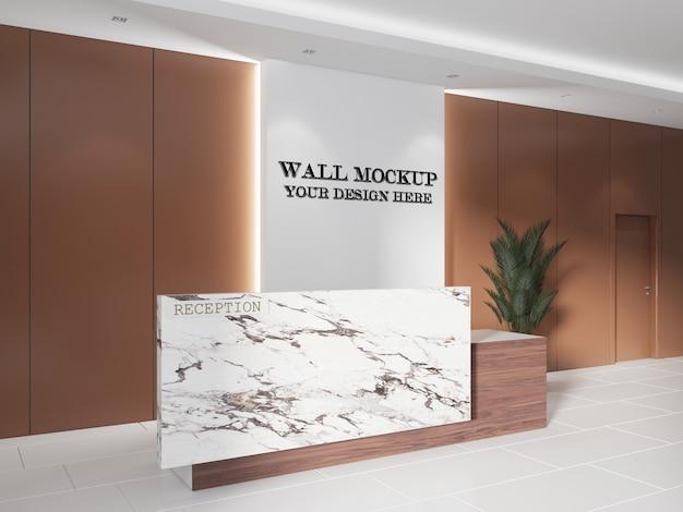 Maquete de parede do hall de recepção de luxo com mesa de mármore e detalhes em madeira