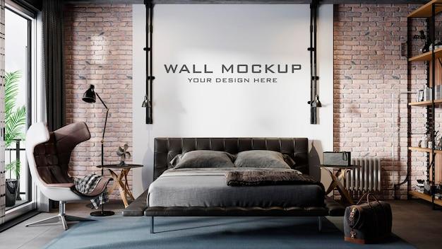 Maquete de parede do quarto do loft premium psd