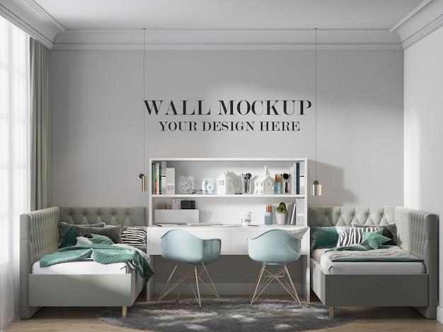 Maquete de parede do quarto duplo