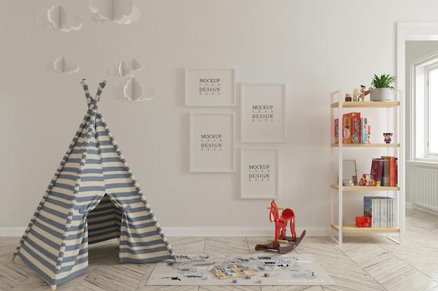 Maquete de parede e maquete de pôster no interior da sala de jogos infantil Psd Premium
