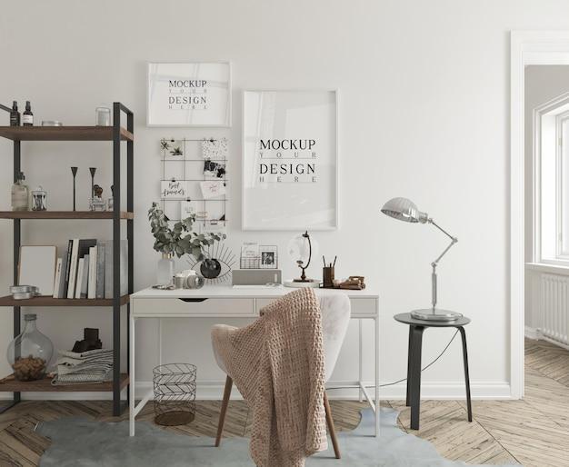 Maquete de parede e maquete de quadro de pôster no interior moderno da sala de estudo