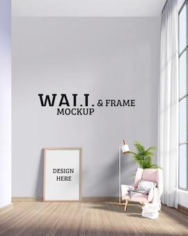 Maquete de parede e moldura - local para relaxar junto à janela