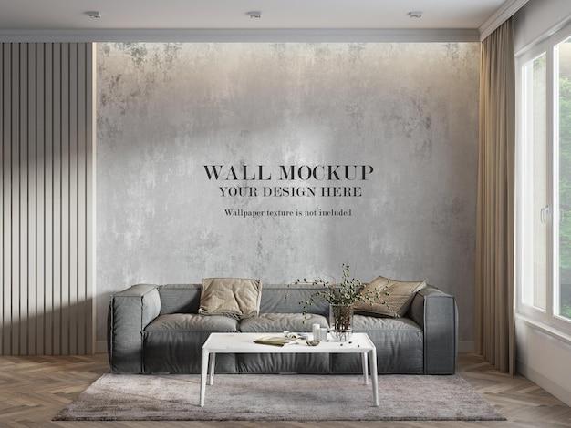 Maquete de parede em 3d renderização em sala iluminada