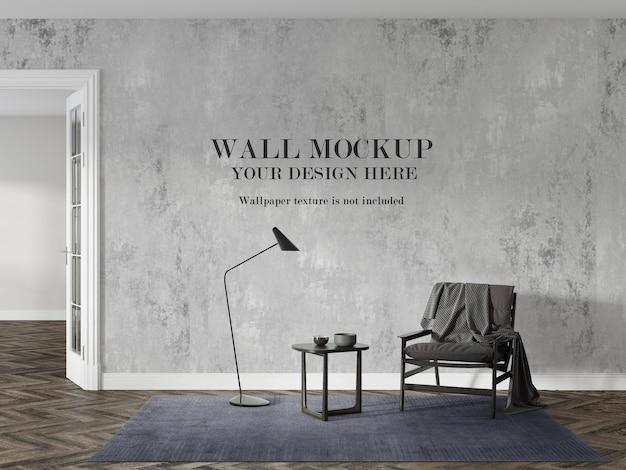 Maquete de parede em apartamento com interior moderno