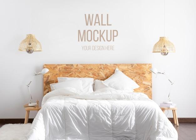 Maquete de parede em arranjo de quarto