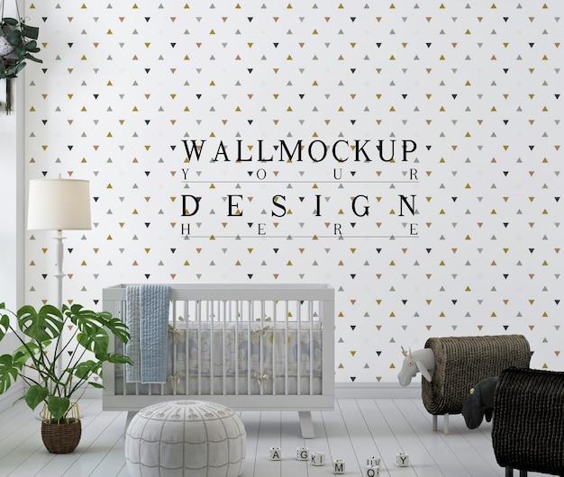 Maquete de parede em berçário branco com brinquedos