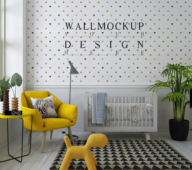 Maquete de parede em berçário moderno com chiar de braço amarelo