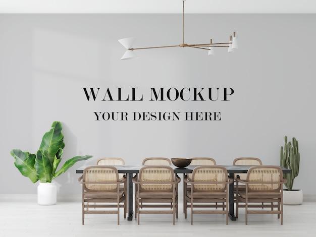 Maquete de parede em branco da sala de jantar em renderização 3d