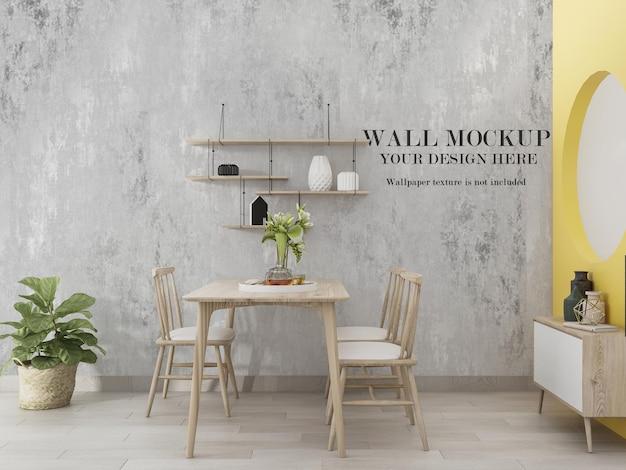 Maquete de parede em branco da sala de jantar