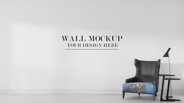 Maquete de parede em branco em renderização 3d