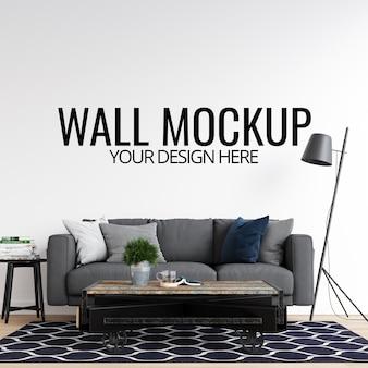 Maquete de parede em branco interior com sofá e decoração
