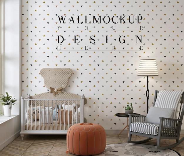 Maquete de parede em quarto de bebê moderno com cadeira de balanço e pufe