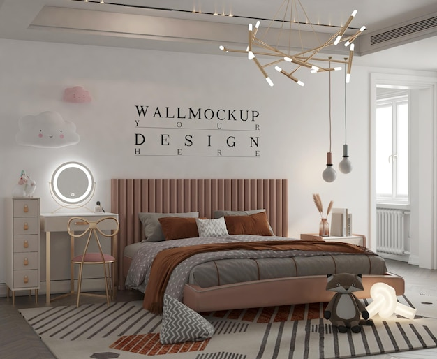 Maquete de parede em quarto de criança fofa