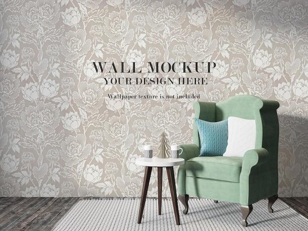 Maquete de parede em renderização 3d atrás de uma cadeira tradicional inglesa