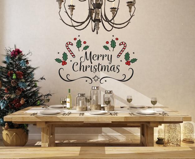 Maquete de parede em sala de jantar com árvore de natal