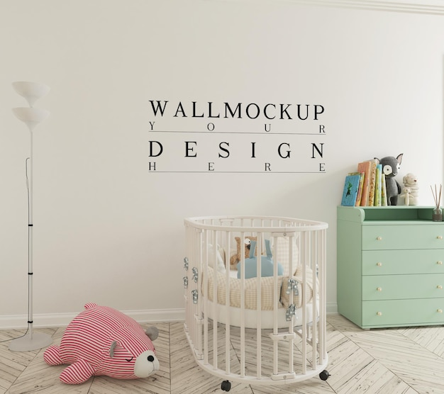 Maquete de parede em um lindo berçário