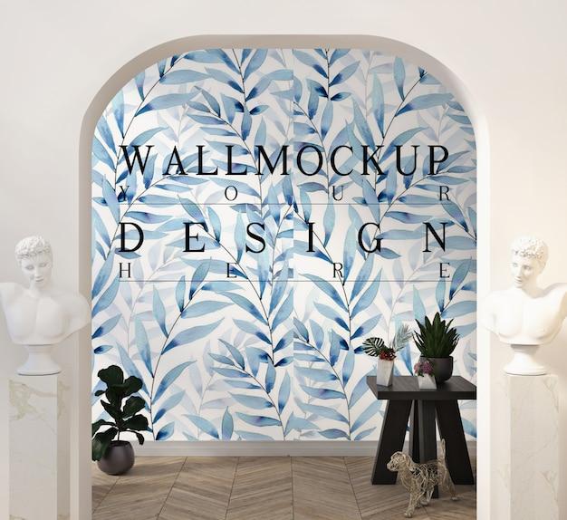 Maquete de parede em uma sala de estar clássica moderna com decoração e estátua no pedestal