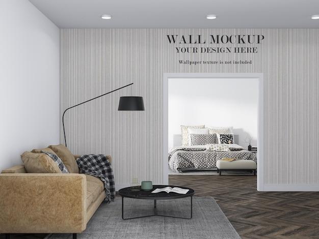 Maquete de parede entre dois quartos com móveis minimalistas
