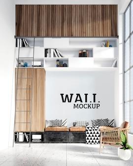 Maquete de parede - espaço de leitura com um estilo moderno