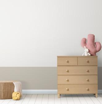 Maquete de parede infantil psd japandi design de interiores