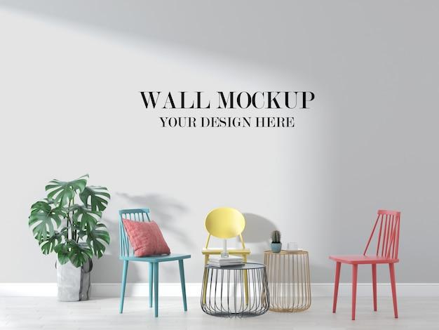 Maquete de parede interior com móveis coloridos