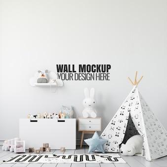 Maquete de parede interior de sala de jogos para crianças