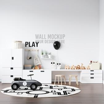 Maquete de parede interior kids playroom com decorações