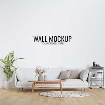 Maquete de parede interior moderna sala de estar com mobiliário e decoração