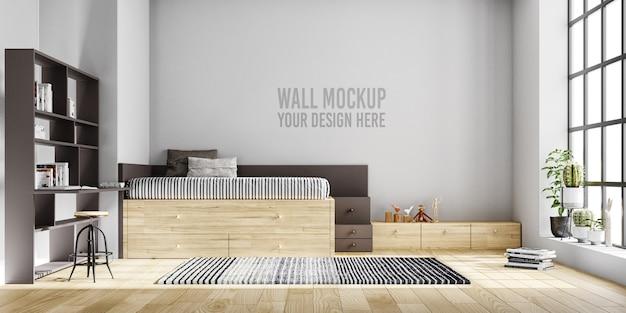 Maquete de parede interior quarto de crianças com decorações