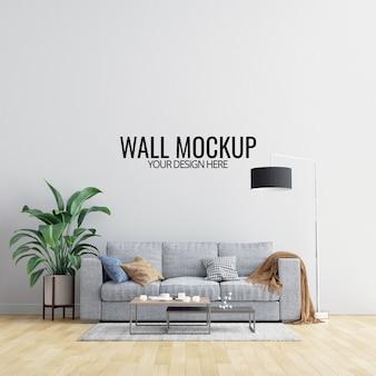 Maquete de parede interior sala com móveis e decoração