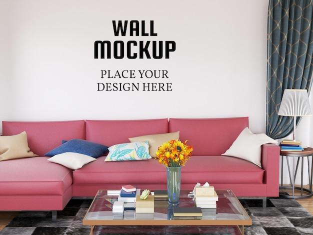 Maquete de parede na sala de estar moderna