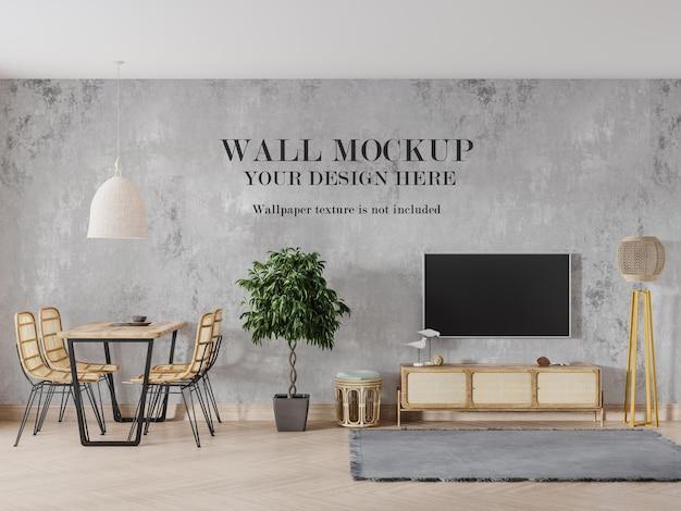 Maquete de parede no interior com móveis de vime