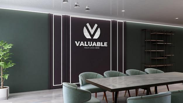 Maquete de parede preta de sala de reunião com design moderno