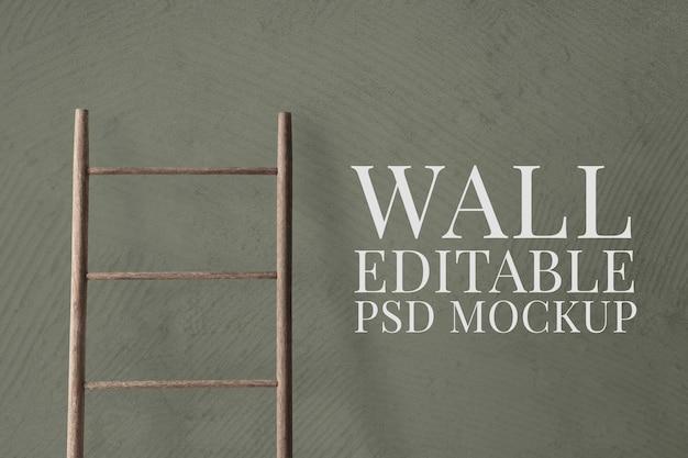Maquete de parede psd com uma escada apoiada