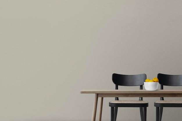 Maquete de parede psd design de interiores de sala de jantar