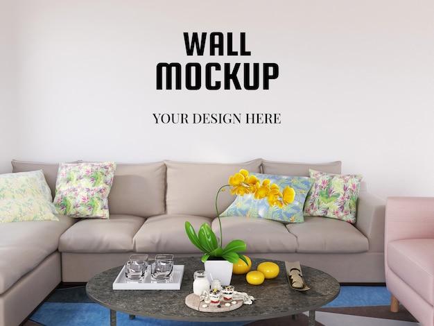 Maquete de parede realista na moderna sala de estar
