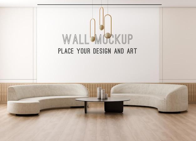 Maquete de parede renderização em 3d em parede bege com sala de estar escandinava