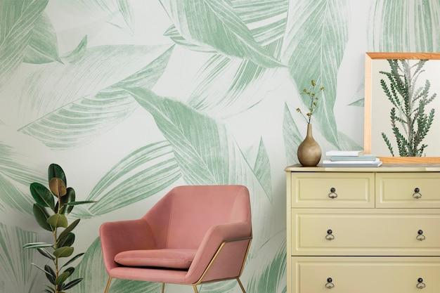 Maquete de parede retrô psd design de interiores de sala de estar