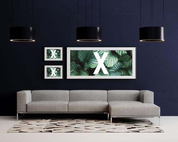 Maquete de parede tripla escuro