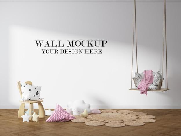 Maquete de parede vazia do quarto infantil