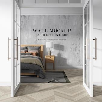 Maquete de parede, vista através de portas abertas com móveis minimalistas