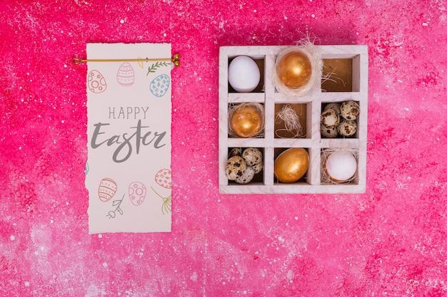 Maquete de páscoa com caixa de ovo