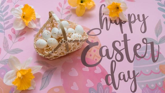 Maquete de páscoa com cesta de ovos