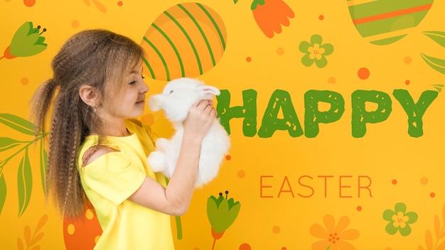 Maquete de páscoa com garota e coelho