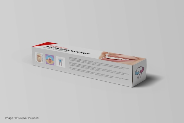 Maquete de pasta de dente de embalagem de caixa isolada