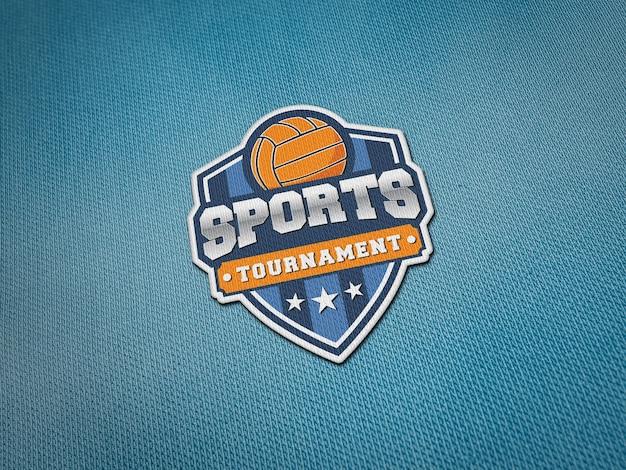 Maquete de patch de logotipo bordado em tecido de jersey