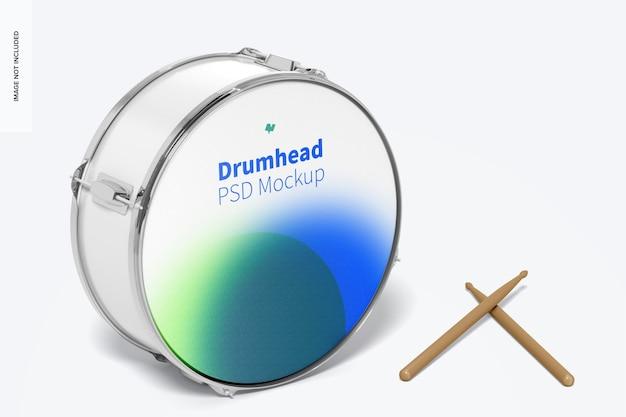 Maquete de pele de tambor, vista frontal