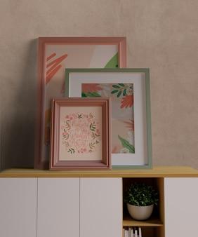 Maquete de pequenos quadros minimalistas